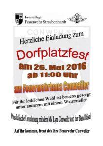 Plakat Anzeige Dorfplatzfest 26.5.2016